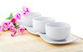 White porcelain bowls for rice Stock Image