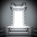 White portal to future with bright light. Stock Images