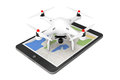 White Quadrocopter drone with Photo Camera over Tablet PC. 3d Re