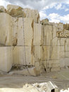 White quarry marble deep wall of overhanging Royalty Free Stock Images