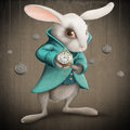 White rabbit with clock elegances indicates the illustration Stock Images