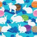 White rabbit colorful moon cake seamless pattern