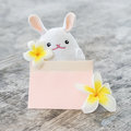 White rabbit doll hold pastel paper and plumeria flowers