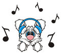 White rabbit listening to music with headphones Royalty Free Stock Photo