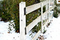 White Rail Fence/Snow Royalty Free Stock Images