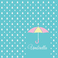 White raindrop and sweet umbrella on blue sky background Royalty Free Stock Photo