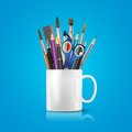 White realistic cup with office supplies, pencils, pens, scissors, ruler, paint brushes. Vector conceptual image of office life. Royalty Free Stock Photo
