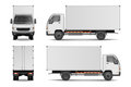 White realistic delivery cargo truck. Lorry for advertising side, front and rear view isolated on white background Royalty Free Stock Photo