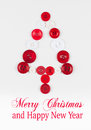 White and red buttons tree christmas background isolated on white with copy space unusual design Stock Photos