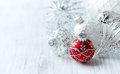 White and red Christmas balls Royalty Free Stock Photo