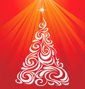 White Red Christmas Tree Royalty Free Stock Photo