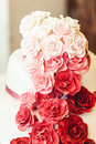 White red pink wedding cake with roses Royalty Free Stock Photo