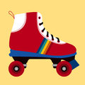 White and red skating shoe illustration of a on yellow background Stock Photos