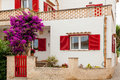 White-red Spanish house Royalty Free Stock Photo