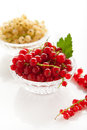 White and redcurrant red currants in a crystal vase on a background Stock Photos