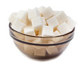 White refined sugar,Close up on a white background Royalty Free Stock Photo