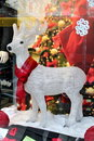 White Reindeer in Store Window Royalty Free Stock Photos