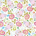 White pattern with pink mouse and flowers.