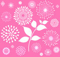 White Retro Floral Clipart  On...