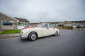 White retro wedding car Royalty Free Stock Image