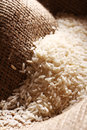White rice grains on sack cloth Royalty Free Stock Photos