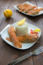 White rice lobster slice lemon Stock Photography