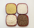 White rice millet barley and oats are in red plates Royalty Free Stock Photography