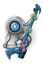 White robot with guitar isolated on white vector illustration Royalty Free Stock Photos