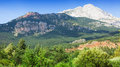 White rocky mountain in pyrenees spain summer day Royalty Free Stock Image