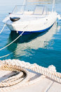 White rope and boat Stock Photos