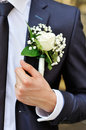 White rose boutonniere Royalty Free Stock Photo
