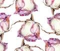 White rose, watercolor, pattern seamless