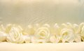 White roses from cloth on white background Royalty Free Stock Images
