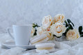 White roses and cups