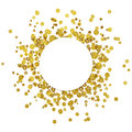 White round card on scattered gold confetti