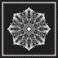 White round lace doily snowflake pattern isolated on black Stock Photography