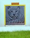 White Royal Indian Bengal Tiger engraving Royalty Free Stock Photo