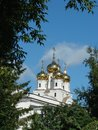 White russian church with blue sky background Royalty Free Stock Image