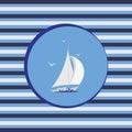 White sailboat. Marine emblem.