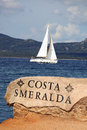 White sailboat in sardinia costa esmeralda italy luxury Stock Photo