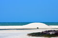 White sand beach and dunes dune on sandy with caribbean sea blue sky Stock Photos