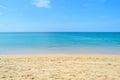 White sand and clear water sea with blue sky at Naiyang beach Royalty Free Stock Photo