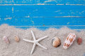 White sand star fish and shells Royalty Free Stock Photo