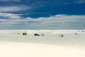 White sands national parks with shelter under a beautiful blue sky new mexico usa Stock Photo