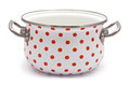 White Saucepan with Red Dots Royalty Free Stock Photo