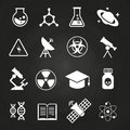 White science vector icons on chalkboard
