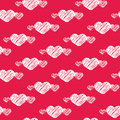 White scratch hearts on red seamless pattern Royalty Free Stock Photo