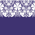 White seamless lace pattern on purple background Stock Photos