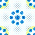 White seamless pattern with blue flowers. Watercolor cornflowers, polka dot background.