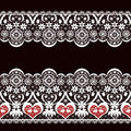White seamless valentine lace lacy pattern texture on black background Stock Photo